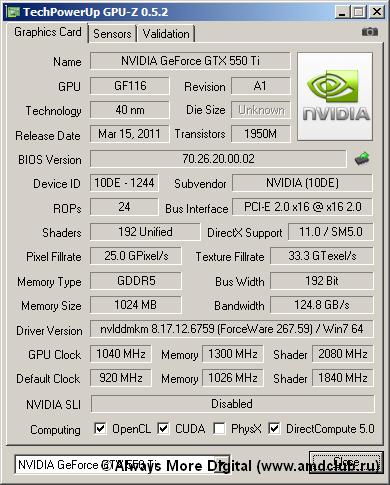 GPU GTX 550 Ti