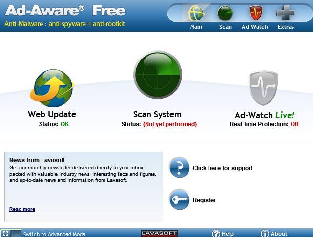 Запускаем сканирование и удаление SpyWare