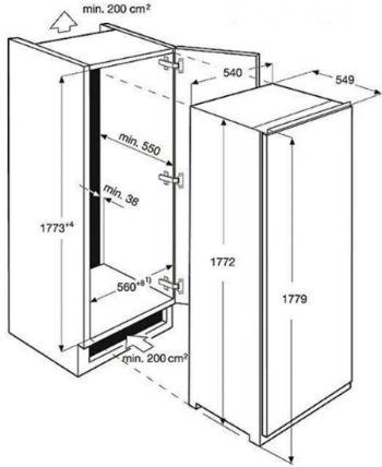 Размеры морозильной камеры Electrolux
