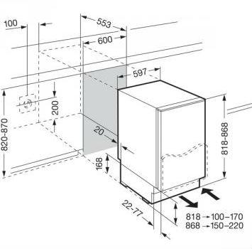 Размеры встраиваемой холодильной камеры